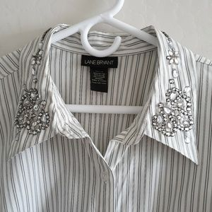 Lane Bryant rhinestone collar cuff button shirt